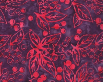 """Last 22"""" End of Bolt Remnant - Moda Fabrics - Eat Your Fruits and Veggies Batik - Juicy Cherries on Purple - out of Print"""