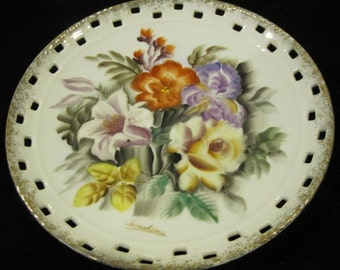 Vintage Hand Painted Plate - signed Iwashima, Japan, flowers - floral, dainty, elegant, collectible, fancy edging, gold trim, wall hanging
