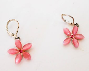 Vintage Dainty Pink Flower Rhinestone Drop Earrings,  Lever Backs