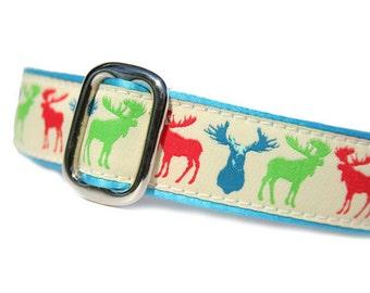 "1"" Dog Collar Moose Multi - Choose Your Collar Style!"