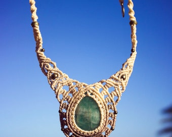 Sky deva macrame necklace with natural amazonite stone and brass beads for self-expression, artistic creativity and healing