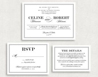 Wedding Invitation and RSVP Card (Celine) -Digital File, PDF, DIY, Printable, Calligraphy, Script, Black and White, Modern, Classic, Printed