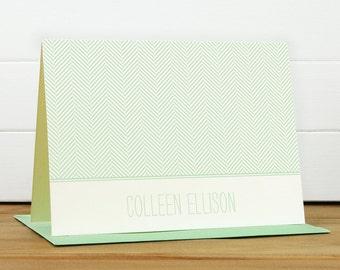 Personalized Stationery Set / Personalized Stationary Set - HERRINGBONE Custom Personalized Notecard Set - Classic Masculine Bold
