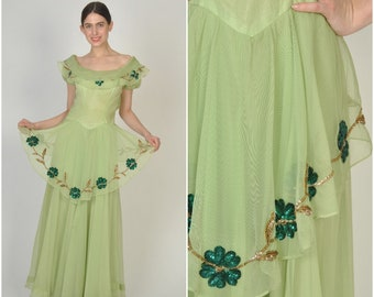 1940s Green Sequin Flower Leaf Peplum Gown  | vintage 1940s gown | green emerald gold sequin 1940s gown