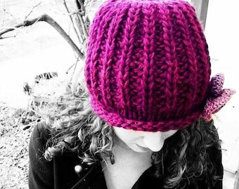 Chunky knit hat womens beanie flower Red-violet winter warm wool handmade rose urban boho