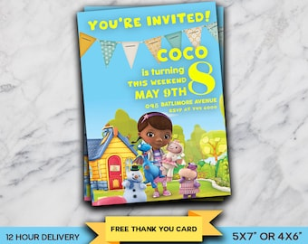 Doc McStuffins Personalized Birthday Party Invitation, Printable Digital File