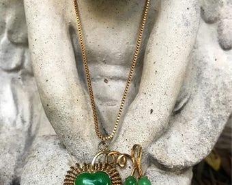 Vintage 24 inch long Jade Resin Heart Necklace