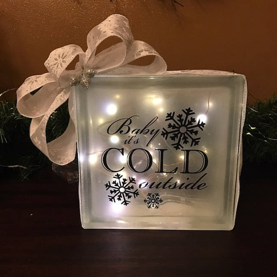 DIY Christmas Decorations Glass Block Decal Baby Its Cold - Glass block vinyl decals