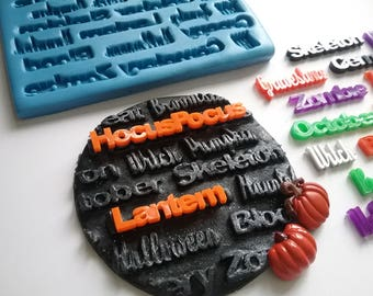 Halloween words mould - 20in1 - large mould - Design by TheSiliconeMouldCompany.