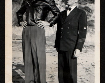 Sharply Dressed Men Tall and Short Vintage Snapshot 1940's, Original Found Photo, Vernacular Photography