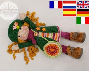 Crochet pattern for doll IDA, pdf  (Deutsch, English, Nederlands, Español,  Italiano, Français)