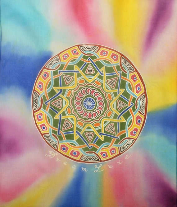 Colorful square hand Painted mandala silk scarf