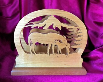 Hand Crafted, Wood, Mother & Baby Horse Napkin or Mail Holder - Home Decor - Office Decor - Gift Idea