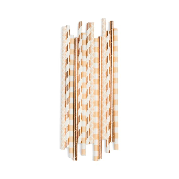 Birthday Suit Straw, Paper Straw, Neutral Straw, Rose Gold Straw, Rose Gold Decor, Wedding Table, Food Decoration, Bridal Shower, Baby