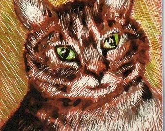 "ACEO Original Scratch Board Painting - Tabby Cat - Cat Art - 2 1/2"" x 3 1/2"" - Artist Trading Cards - Art Cards - Fine Art"