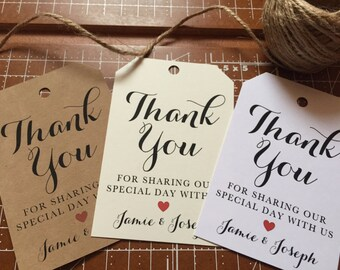 Wedding Thank You Favor Tags, Wedding Favor Tags, Favor Tags with Names and Date for your Wedding or Event, Favor Tags for any Event
