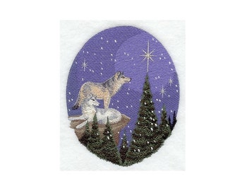 Nature's Christmas Wolves - I Will Machine Embroider This Design On To Your Custom Item