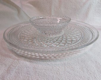 Anchor Hocking Waterford Design Chip and Dip Bowl and Platter