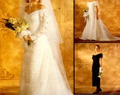 McCalls 7451 Size 16 Alicyn Exclusives Misses Bridal Gown Bridemaid Dresses Fitted Off Shoulder Back Slit Bridal Loops Buttons Evening c