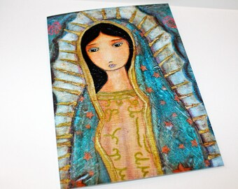 Virgen de Guadalupe - Greeting Card 5 x 7 inches - Folk Art By FLOR LARIOS