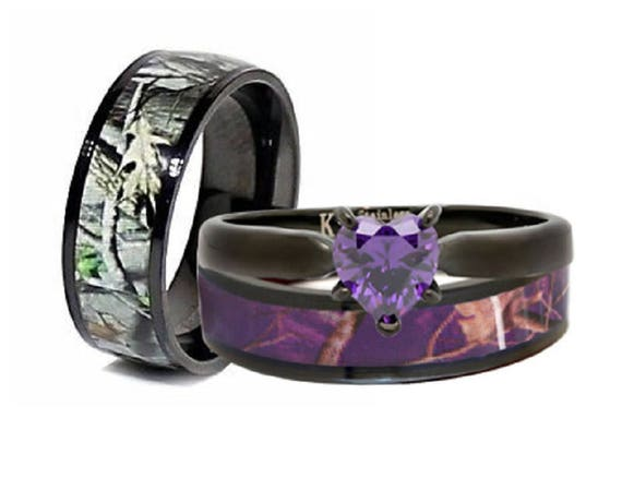 Beau His And Hers Camo Wedding Rings Set Camouflage Engagement Rings   3 Piece  Camo Heart Ring Set