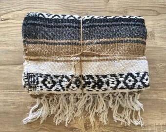 Mexican Throw Blanket - Beige, Gray, White & Black Aztec Design