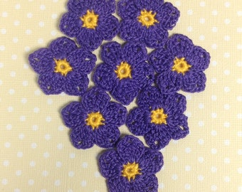 "Crochet Flowers 1-1/4""  - set of 8 (#06-15)"