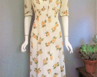 80s Does 30s Dress / A Vintage 1980s Dress with Long Maxi Style and 1930's Details / Yellow Floral / Fit and Flare Silhouette / size 6 or 8