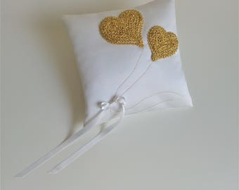 White and Gold Wedding Ring Pillow, Ring Bearer Pillow, Bridal Pillow, Wedding Ceremony Pillow, Ring Holder, Ring Cushion, Golden Hearts