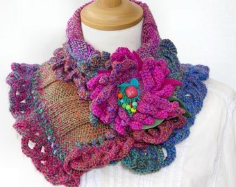 knit capelet knit crochet lace cowl rainbow multicolor knit crochet neck cozy neck warmer for her romantic cowl PiaBarileAccessories