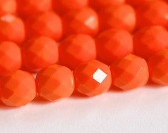 Czech Opaque Orange Faceted Glass Beads 8mm (25) czh001H