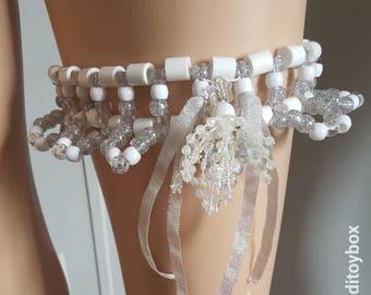 White and glitter kandi garter, rave outfit, festival outfit, edc kandi