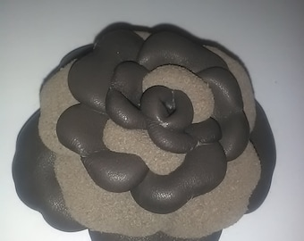 Leather flower brooch, Leather jewelry, Brown flower, Leather brooch, Leather rose, Brown rose, Wedding jewelry, Handmade brooch.