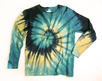 Ladies Long Sleeve Tie Dye Shirt, Womens T Shirt, Earthy Spiral, Eco-friendly Dyeing