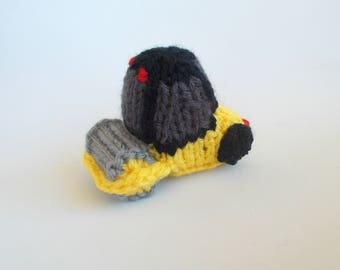 Miniature Road Roller Knitted Soft Toy - Construction Ornament - Kids Room Decor - Soft Steamroller - Stocking Stuffer - Boys Stuffed Toy