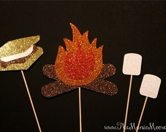Photo Booth Props - GLITTER Campfire and S'mores on a stick - Set of 4 Glitter Props