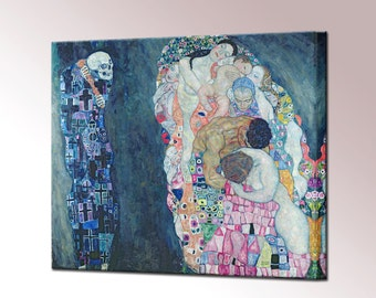 Death and Life by Gustav Klimt Wall Decor Canvas Print Home Decor Fine Art Nouveau Wall Art Ready To Hang