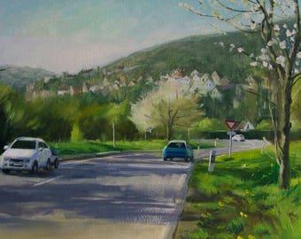 Spring is comming, Framed, Spring Scene, Original Oil Painting, Ling Strube