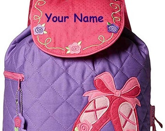 Personalized Monogram Stephen Joseph Pink and Purple Quilted Ballet Shoes Back to School Backpack Dance Bag Tote with Embroidery for Girls