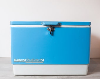 Vintage Blue Cooler - Coleman Steel Belted 54 Baby Blue and WhiteBeer Storage Camping Beach Chill Cooler