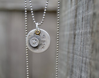 Moon & Stars Sterling . Necklace. Handmade . Rustic . Earthy . Boho . Moon