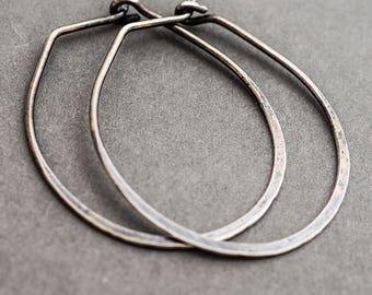 Sterling Silver Hoop Earrings. Minimalist Boho Eco. Hammered Oval Everyday Wear. Rustic Oxidised Oxidized. Handmade Jewelry Jewellery.