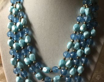 Pale Blue Dark Blue Lucite Bead Four Strand Necklace Unsigned 1950's 1960's Mid Century Multi Strand Femnine Woman Smaller Beads Day Wear
