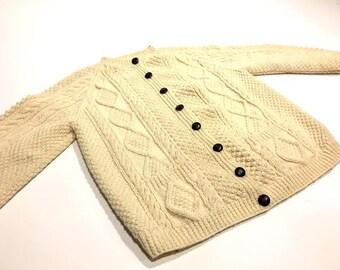 Wool Popcorn Knit Fishermans Sweater