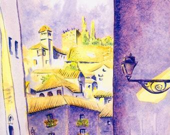 Granada Print: Calle Santa Lucía, Granada, Spain