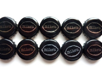 Set of 10 Mikes Hard bottlecaps for crafts, jewelry,art, magnets, recycle projects, and more