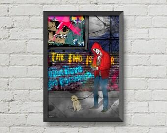 The end is near,Art,artwork,skeleton,skull,street,graffiti,dog,night,digital print,poster,home decor