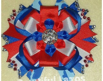 4th July, Independence day pinwheel hair bow