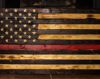 Rustic Wooden American Flag With Thin Red Line. PICK UP ONLY