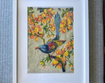 Framed Retro Cross Stitch Of Blue Wren On Branches With Flowers Vintage Cross stitch Art